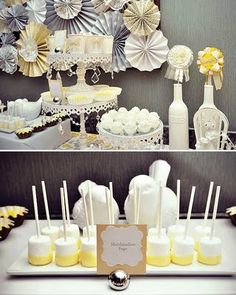 Yellow and gray baby shower-love the pleated medallion backdrop-beautiful!