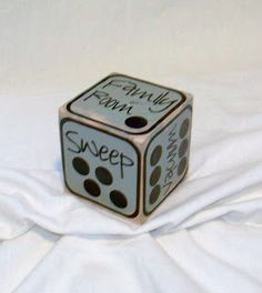 Roll the dice for chores; more than one die can be used.  Here are the rules:  1)  First one done with their rooms gets to roll the dice first.  2)  Whatever it lands on that is your chore.  3)  If you land on the Free Day, you don't have to do chores that day.  4)  If a chore has already been rolled you must roll the dice again.  5)  You can't get a Free Day 2 days in a row.  6)  If you finish your chore you can earn a bonus 'prize' or privilege.