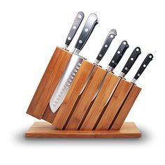 Premium Stainless Steel 12 Piece Kitchen Knife Set with Bamboo Wooden Block & Sharpener - Includes Chef, Santoku, Bread Knife, 6 Steak Knives & Paring Knife