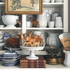 Every November, when the vintage deer come out to play, I'm reminded of the deep confusion that I faced as a youngster over the concept of… Woodland Christmas, Vintage Christmas, Cozy Christmas, Country Christmas, Christmas 2019, Cosy Home, Winter Wonder, Cuisines Design, Christmas Centerpieces