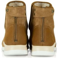 UGG Laurelle Tan Leather High Top Trainer ❤ liked on Polyvore featuring shoes, sneakers, high top sneakers, high top leather shoes, leather trainers, hi tops and checkered sneakers