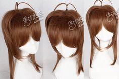 Short Straight Anime Cosplay Wig Synthetic Fiber Hair Hairpiece Full Wig Light Brown Free Shipping High Quality