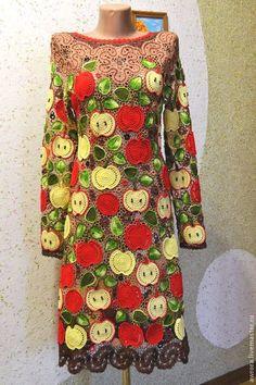 """Купить Платье """"Ева"""" - ирландское кружево, авторская ручная работа, Вязание крючком, яблоко"""