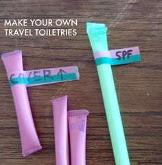 Make your own travel size toiletries by filling and sealing drinking straws. | DIY on Mighty Girl