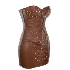 Brown PU Leather Corset and Skirt with Stud Detail