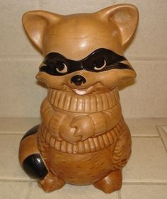 Vintage Twin Winton Pottery Raccoon Cookie Jar  by gizmos on Etsy, $25.00