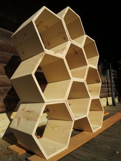 THE HONEYCOMB - Set of 9 Unfinished Hexagon Cubbies, custom storage unit or display shelf, modular wood bee hive furniture Honeycomb Shelves, Hexagon Shelves, Modern Bookcase, Modern Shelving, Honey Store, Wood Bees, Retail Fixtures, Display Shelves, Cubbies