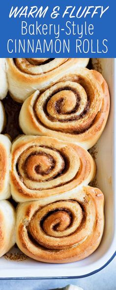 These Bakery-Style Cinnamon Rolls are so soft and fluffy! Topped with a thick layer of cream cheese frosting. A make-ahead dough breaks up the work.