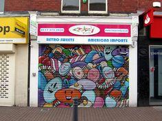 Shutter artwork: Sweets on a sweet shop; in Bedminster, Bristol.