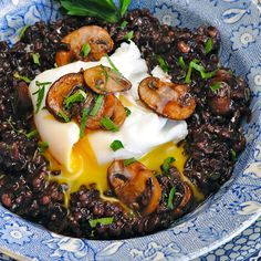 Forbidden Rice Risotto - the poached egg on top is intriguing...