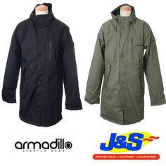 ARMADILLO PARKA SCOOTER MOTORCYCLE MOTORBIKE MOD CITY WATERPROOF MENS JACKET 1. Removable d30 impact protection elbow and shoulder  2. Underarm vents  3. MP3 Pocket with Headphone loops  4. Waterproof outer comms pocket  5. Ergonomic adjustable hood
