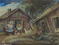Arvi MÄENPÄÄ (1899-1976)  - Finland - rooster, chickens