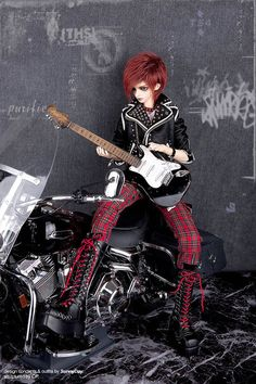 FairyLand Ball Jointed Doll punk rocker. I love this guy!  I love the bike!