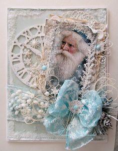 Beautiful Old World Santa Card  in Creams & Blues