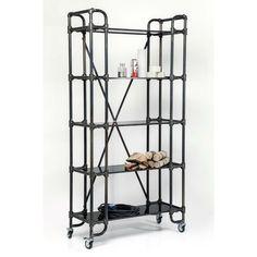 Βιβλιοθήκη Detour Move Largo Μία ιδιαίτερη τροχήλατη βιβλιοθήκη σε industrial design, με ράφια από γυαλί σε μαύρο χρώμα και σκελετό από χάλυβα με ηλεκτροστατική βαφή σε ματ μαύρο χρώμα. Ladder Bookcase, Shelving, Design, Business, Home Decor, Home, Shelf, Shelves, Decoration Home