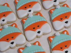 Winter Fox Theme Decorated Sugar Cookies Birthday by MartaIngros