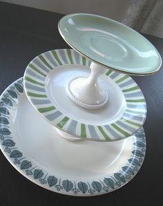 Bilderesultat for diy etasjefat 3 Tier Stand, Tiered Stand, Diy Crafts, Plates, Crafty, Tableware, How To Make, Vintage, Craft Ideas