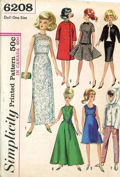 ORIGINAL Doll Clothes PATTERN 6208 for 11.5 Barbie Midge Annette Mitzi Gina Kay