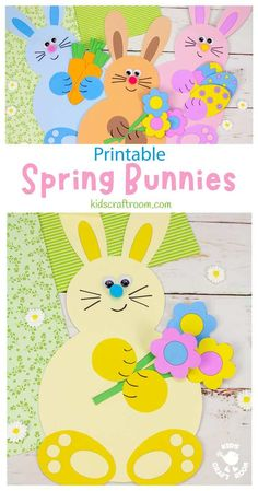Make adorable Spring Bunny Crafts. Each cute rabbit is holding a bunch of flowers, pile of tasty carrots or a hoard of decorated Easter eggs. This is such a cute spring craft and Easter craft for kids. (Printable B/W and colour template.) #kidscraftroom #kidscrafts #eastercrafts #springcrafts #preschoolcrafts #easterbunny Easter Activities, Craft Activities For Kids, Preschool Crafts, Craft Kids, Spring Activities, Kids Crafts, Creative Arts And Crafts, Arts And Crafts Projects, Kid Projects