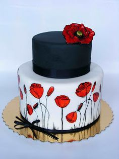 Black, white and red poppy cake-i love pretty cakes like this! Gorgeous Cakes, Pretty Cakes, Cute Cakes, Fancy Cakes, Amazing Cakes, Poppy Cake, Hand Painted Cakes, Floral Cake, Elegant Cakes
