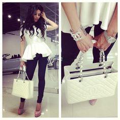 black and white. peplum top. Chanel bag-I wish this bag was mine!!!