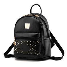 93babea2fe04 High Quality Women Backpacks Lady Shoulder Bag Girls Travel Bags PU Leather Rivet  Backpacks Student School