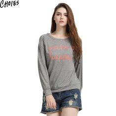 Women Gray Letter Print Long Sleeve Casual Biref Sweatshirt Cotton Hoodies 2016 Fashion New O Neck Loose Plus Size Pullover