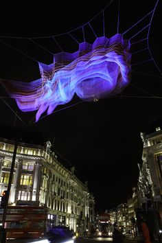 Janet Echelman installation for Lumiere London Arch Light, Light Art, Janet Echelman, Light Installation, Interactive Installation, Art Installations, Urban Intervention, Light Painting, Painting Art