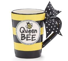Whimsical Queen Bee 13 oz Coffee Mug with Polka Dot Bow on Handle Gift Boxed Burton & Burton http://smile.amazon.com/dp/B00FAWVJJO/ref=cm_sw_r_pi_dp_yGkAwb1XXAMNT