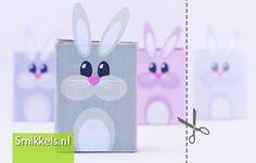 Traktatie rozijnen konijntjes | met gratis print voorbeeld  |  Raisins box treat with free printable rabbits | Paashaas | Easter bunny | Smikkels.nl