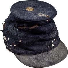 """Forage Cap Exhibiting Rare Brass Ventilator on the Crown Crown exhibits an original brass ventilator installed to encourage air flow under the soldiers forage cap. Pinned to the crown is a 7/8"""" German silver company letter """"G"""" and 5/8"""" German silver """"8"""", who's preceding number is missing."""