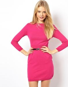 ASOS Knitted Dress with Slash Neck and Belt