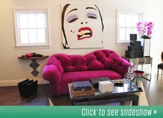 Color me pink! Too-fabulous couch by Elisabeth Weinstock.