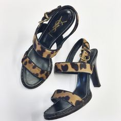 YSL | leopard calf hair sandals 100% authentic. Worn a few times. EXCELLENT CONDITION. No TRADES. Size 38.5. Leopard calf hair. Yves Saint Laurent Shoes Sandals