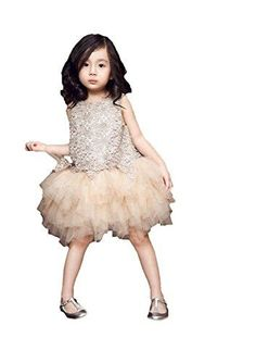 FAYALE Girls Champagne Hollow Out Flower Birthday Party Tutu Skirt Dress 2T Champagne -- Learn more by visiting the image link. (This is an affiliate link)