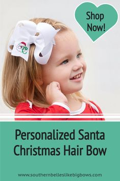 A personalized hair bow for Christmas that features an embroidered Santa with the initial letter of your choice. Available in four different sizes and a variety of colors. Our bows are carefully crafted to have a gorgeous boutique bow shape that stays full when worn. Christmas Hair Bows, Santa Christmas, Christmas Accessories, Baby Monogram, Boutique Bows, Cheer Bows, Baby Girl Gifts, Baby Bows, Gifts For Boys