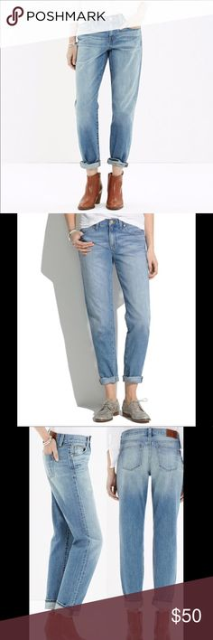 """Madewell Boy Jean Madewell Boy Jean in a light wash. Comfy, trendy and in like new condition! Sits at the hip.  •measurements• Inseam: 28"""" unrolled  Rise: 9.5"""" Madewell Jeans Boyfriend"""