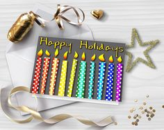 Glitter greeting card HAPPY HOLIDAYS card Printable Christmas Card Colorful rainbow candles DIY card Instant download GC027 by StudioDprint