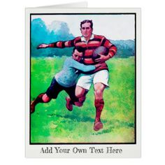 Big Personalized Rugby Card - vintage gifts retro ideas cyo