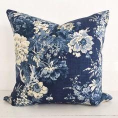 Indigo roses & natural linen cushion cover - designer cushion 50 x 50 cm - FREE SHIPPING Australia wide