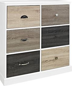 Altra Furniture Reese Park Storage Cabinet with 4 Fabric Bins and ...