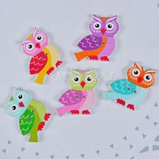 50pcs 2 Holes Mixed Owl Wooden Buttons Crafts Scrapbooking Sewing Cardmaking DIY
