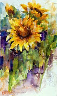 """Watercolor Weekends - Sunflowers"" - Original Fine Art for Sale - © Julie Ford Oliver"