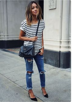 This look will never date! Stripy tshirt, ripped jeans and cross over bag