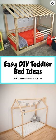 9 DIY Toddler Bed Ideas - Guide to choose the right toddler bed plans Cool Toddler Beds, Toddler Floor Bed, Diy Crib, Diy Bed, Crib Mattress, Crib Bedding, Toddler Platform Bed, Princess Canopy Bed, Little Girl Bedrooms