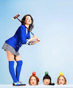 Barrett Wilbert Weed as Veronica Sawyer, Jessica Keenan Wynn as Heather Chandler, Alice Lee as Heather Chandler, and Elle McLemore as Heather McNamara in Heathers the Musical (2014)