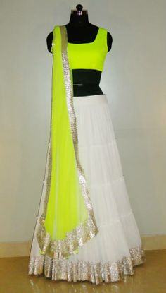 Indian# Bollywood fashion # Ghagra Choli # white # neon # Vitamin by Sonalika # Sonalika Pradhan Indian Wedding Outfits, Pakistani Outfits, Indian Outfits, Indian Bollywood, Bollywood Fashion, Indian Sarees, Indian Attire, Indian Ethnic Wear, Indian Style