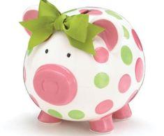 Girls Pink and Green Circles Pig Piggy Bank Green Bow Ceramic Personalized Baby Nursery Decor Baby Nursery Decor, Girl Nursery, Nursery Ideas, Diy Natural Beauty Hacks, Diy Beauty, Beauty Tips, Pig Bank, Tout Rose, Money Bank