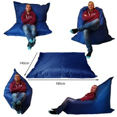 Extra Large Giant Beanbag Blue - Indoor & Outdoor Bean Bag - MASSIVE - could be used for a story area, chillout zone, role play and suitable for outdoor use! Giant Bean Bag Chair, Giant Bean Bags, Large Bean Bags, Bean Bag Sofa, Bean Chair, Big Cushions, Pillows, Bean Bag Pattern, Chillout Zone
