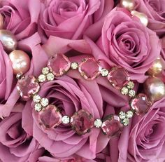 Roses and French antique cut glass belt buckle (@1930), on freshwater pearls.